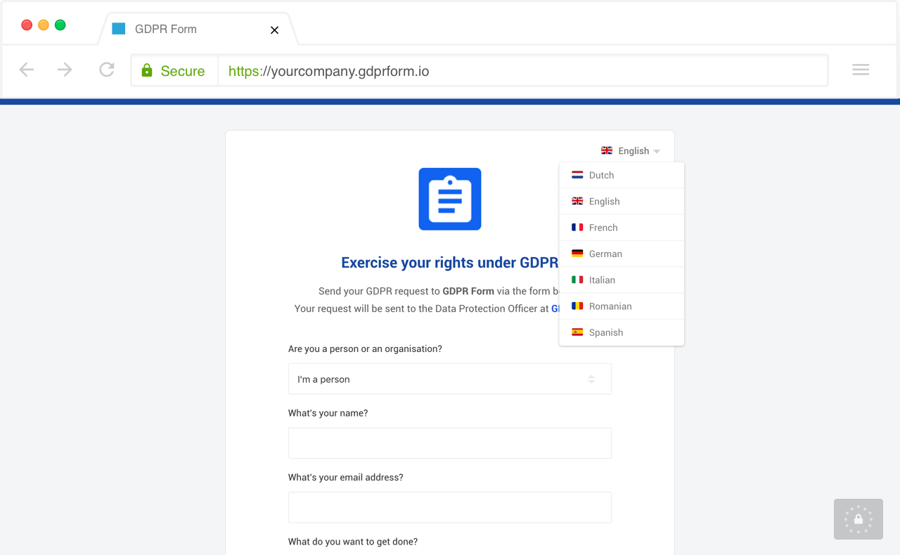 Example of GDPR Form